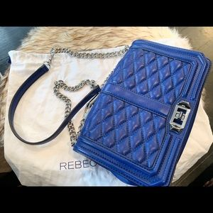 Rebecca Minkoff Bags - RebeccaMinkoff Chevron Quilted Love Crossbody blue